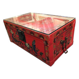 Pair Of Vintage Red Papier Mache Chinese Storage/Table Trunks - Retail Price: $850