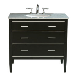 Stufurhome - 36 Whitney Single Sink Vanity in Black Finish with Italian Carrara White Marble - A sleek and stylish modern vanity with a single door cabinet and porcelain sink