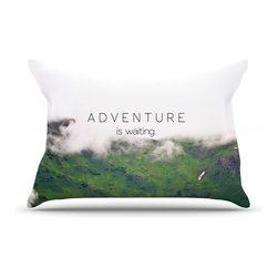 "Kess InHouse - Ann Barnes ""Adventure is Waiting"" Mountain Pillow Case, King (36"" x 20"") - This pillowcase, is just as bunny soft as the Kess InHouse duvet. It's made of microfiber velvety fleece. This machine washable fleece pillow case is the perfect accent to any duvet. Be your Bed's Curator."