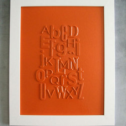 Orange Typography Collage, Alphabet by Fuzzy Hippo Design - This is one of my favorite orange decor accessories for an office: the Orange Typography Collage.
