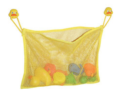 Toy Organizer on Suction Cups - Duck Head Decoration Childish Yellow - This toy organizer is in polyester and vinyl. This playful pocket is the perfect place to store all your child's favorite bath toys. This toy netted bag is easy to attach to your tile wall with 2 suction cups, covered by funny duck heads. Color yellow. Ages 10 months and up. Organizer can be washed by hand and hung to dry. Length 13.8-Inch and height 9.8-Inch. This bath basket is useful to quickly store and to dry all bath toys. Complete your Childish decoration with other products of the same collection. Imported.