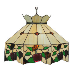 """Meyda Tiffany - 19""""W Meyda Apple Pendant - Bite into this delightful stained glass shade bordered with ripe luscious three dimensional Crimson apples with Grass Green leaves and sparkling Bark Brown accents. Enhance your home with this Meyda Tiffany original classic design on a Cream background with Brown granite diamonds. The chain and canopy are hand finished in Mahogany Bronze."""