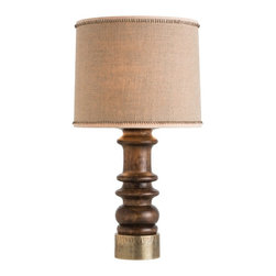 Arteriors - Lassie Lamp - This hand turned, solid mango wood column has been stained dark walnut and the bottom has been clad in antiqued brass metal sheet. The shade has been hand crafted of burlap and linen. Note the dark brown, hand-sewn whipstitch on the trim. Takes one 150 watt three-way bulb.