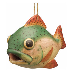 Songbird Essentials - Trout Birdhouse - Songbird Essentials adds color and whimsy to any garden with our beautifully detailed wooden birdhouses that come ready to hang under the canopy of your trees. Hand-carved from albesia wood, a renewable resource, each birdhouse is hand painted with non-toxic paints and coated with polyurethane to protect them from the elements. By using all natural and nontoxic components Songbird Essentials has created a safe environment complete with clean-out for our feathered friends.
