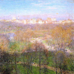 """Willard Leroy Metcalf Early Spring Afternoon, Central park   Print - 16"""" x 16"""" Willard Leroy Metcalf Early Spring Afternoon, Central park premium archival print reproduced to meet museum quality standards. Our museum quality archival prints are produced using high-precision print technology for a more accurate reproduction printed on high quality, heavyweight matte presentation paper with fade-resistant, archival inks. Our progressive business model allows us to offer works of art to you at the best wholesale pricing, significantly less than art gallery prices, affordable to all. This line of artwork is produced with extra white border space (if you choose to have it framed, for your framer to work with to frame properly or utilize a larger mat and/or frame).  We present a comprehensive collection of exceptional art reproductions byWillard Leroy Metcalf."""