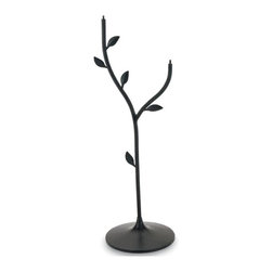 """Achla - Iron Double Stand w Metal Leaves - Display two lovely bird baths on this iron stand, with a durable coating to keep it safe from the elements.  Leaves climb up the dual stand to create a growing stalk effect among the lithe vine like metal poles.  A cast iron base keeps the stand sturdily in place. * Iron with a black powdercoatingCast iron base keeps stand weighted in place36""""H"""