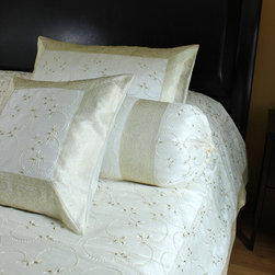 Luxurious & Decorative Bedding Sets - Exclusive 7-piece  bedding set. Beige color. Embroidered by hand in India with beautiful abstract shapes.