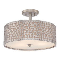 Quoizel - Quoizel CKCF1717OS Confetti Semi-flush Mount Ceiling Light - This collection features confettilike metal chips encompassing an inner offwhite linen shade.  The old silver finish and frosted diffuser completes the design of this funkychic series.  Confetti equals fun.