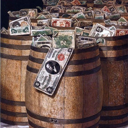 "Victor Dubreuil Barrels of Money - 18"" x 24"" Premium Archival Print - 18"" x 24"" Victor Dubreuil Barrels of Money premium archival print reproduced to meet museum quality standards. Our museum quality archival prints are produced using high-precision print technology for a more accurate reproduction printed on high quality, heavyweight matte presentation paper with fade-resistant, archival inks. Our progressive business model allows us to offer works of art to you at the best wholesale pricing, significantly less than art gallery prices, affordable to all. This line of artwork is produced with extra white border space (if you choose to have it framed, for your framer to work with to frame properly or utilize a larger mat and/or frame).  We present a comprehensive collection of exceptional art reproductions byVictor Dubreuil."