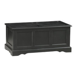 Carolina Cottage - Blanket Chest w Large Storage - Beautiful 3 step hand finish with rubbed edges for a worn unique look. Extra storage at the foot of the bed. Safety hinge on the lid. Assembly required.  Inside storage area: 35 in. W x 16 in. D x 13.75 in. H. 39 in. W x 19 in. D x 18 in. H (48 lbs.)Used at the foot of the bed for linens or as a coffee table with hidden storage, this classic blanket chest adds weight and character to your room.