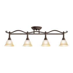 Kichler 4-Light Rail Light - Distressed Black - Four Light Rail Light A blend of traditional and classic influencing, this lighting semi flush mount ceiling light can also double as a wall sconce. From the Pomery collection, the elegant lines feature a dark distressed black finish that compliments the tones of the sunrise marble glass shades.