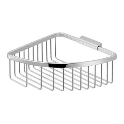 Gedy - Modern Chromed Stainless Steel Wire Corner Shower Basket - Contemporary style wall mounted corner wire bathroom soap holder.