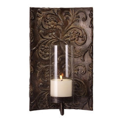 IMAX CORPORATION - Galicia Embossed Metal and Glass Sconce - Melissa Vasquez designed traditional iron and glass wall sconce. Find home furnishings, decor, and accessories from Posh Urban Furnishings. Beautiful, stylish furniture and decor that will brighten your home instantly. Shop modern, traditional, vintage, and world designs.