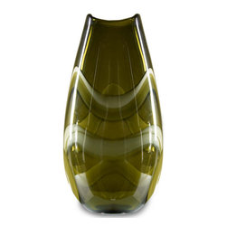 """Green Artisan Glass Vase  13.5""""  Tall - This beautiful glass vase is hand blown and crafted by a local artisan. The translucent green glass has wonderful cream and moss color swirls within. An amazing piece of art!"""