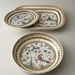 """Horchow - Pavoes Round Serving Bowl - Handcrafted of earthenware in Portugal. Hand painted. Dishwasher and microwave safe. 14.5""""Dia."""
