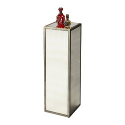 Butler Specialty - Butler Mirrored Pedestal - This mirrored pedestal is sure to add ambiance a variety of spaces. Features antique mirrored panels on the top and all four sides within a pewter finished frame. Made from wood products.