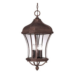 Savoy house - Realto Hanging Lantern - A strong Trisyn composite forms the foundation for a Walnut Patina finish with clear beveled glass. This flawless style offers an unparalleled value. Glass: Clear Beveled . UL Wet/Damp  Location : UL Damp Location . Style : Traditional . Max Wattage Per Bulb : 40 . Number of bulbs : 4 ,  Bulb Included : N