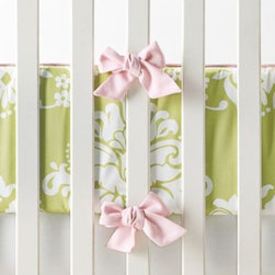 Serena & Lily - Kate Sprout Damask Crib Bumper - Classic damask gets an update with a fresh green hue. So much fun with miniature dots or stripes in a coordinating shade.