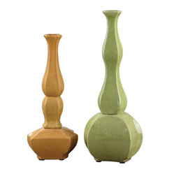 Uttermost - Moswen Vases, Set of 2 - Vases are the makeup of your home. They add the finishing touch of definition, like lipstick. And this set of decorative vases adds something more. A pop of color where you need it. Just like blush!
