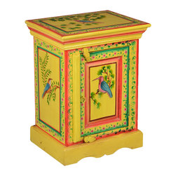 Sierra Living Concepts - Julian Wood Kitchen Storage Cabinet Side End Table - Subtle Yellow Julian Solid Wood Hand Painted End Table with a cabinet that contains two shelves.