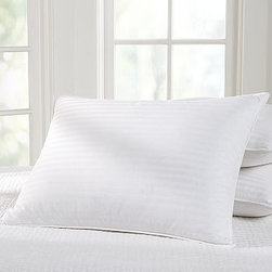 Classic White-Down Pillow, King - An exceptional value, our pillows are available in high-quality European white down and feather blends. 87% feather / 13% down 300-thread-count cotton damask-stripe cover. 550-fill-power down is Freshness Assured(TM) through an exclusive cleaning process that guarantees hypoallergenic comfort. Machine wash. Made in the USA of imported materials.