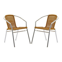 Modway Furniture - Modway Bistro Dining Chairs Set of 2 in Natural - Dining Chairs Set of 2 in Natural belongs to Bistro Collection by Modway Perch artfully as your mind expands to synchronize with your surroundings. Hidden reserves of strength and joy well to the surface as you artfully direct every meeting. The Chromed Rattan Cafe Chair is a sure sign of accomplishments made public for all to see. Set Includes: Two - Chromed Rattan Cafe Chairs Side Chair (2)