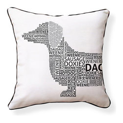 "Naked Decor - Dachshund Typography Pillow, Black & White - Size: 16""x16"""