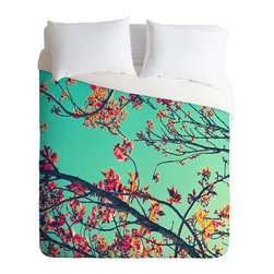 DENY Designs - Shannon Clark Summer Bloom Duvet Cover - Turn your basic, boring down comforter into the super stylish focal point of your bedroom. Our Luxe Duvet is made from a heavy-weight luxurious woven polyester with a 50% cotton/50% polyester cream bottom. It also includes a hidden zipper with interior corner ties to secure your comforter. it's comfy, fade-resistant, and custom printed for each and every customer.