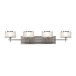 Murray Feiss - Murray Feiss Casual Luxury Transitional Bathroom / Vanity Light X-SB-40731SV - Four modern drum shaped hard back shades with a silver organza fabric add a contemporary appeal to this Murray Feiss bathroom vanity light. From the Casual Luxury Collection, it also features a Brushed Steel finish that compliments the clean lines and pulls the look together.