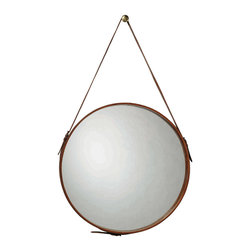"""Jamie Young - Jamie Young Round Leather Large Mirror - The large Round Leather mirror has a rustic vibe, in a fresh and creative design by Jamie Young. Hang one or several in varying heights for a unique contemporary accent. 26""""Dia. x 3""""W; Adjustable 3""""W hanging strap; Includes brass knob"""
