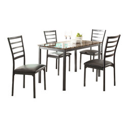 Homelegance - Homelegance Flannery Dining Table w/ Faux Marble Table Top - With a scale appropriate for any number of smaller dining spaces, the Flannery Collection will provide the look and style you want in your home. The transitional feel of the group comes from the richly hued faux marble table top and the minimalistic design of the metal ladderbacked chairs that feature dark brown bi-cast vinyl seats. The table and chairs are constructed of metal in black finish.
