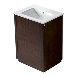 """Vigo Industries - Vigo 24"""" Saba Single Bathroom Vanity - Wenge - This is a simple, sleek addition to a modern bathroom. This durable Vigo vanity was constructed with you in mind. No other brand can match Vigo's style, quality and design.The VIGO Saba Vanity features a white, ceramic sink and includes push to open and push to close cabinet door hardware. It features 2 doors without handle, operated by pushing on the door to release lock (open) and lock the door (close) in its place. The cabinet is made of a quality constructed engineered wood with wood veneers in a wenge horizontal grain finish, which consists of an anti-scratch paint surface for enhanced durability and frequent use. Features Includes white porcelain sink Includes solid brass, chrome-plated drain assembly Includes 2 doors with push to open and close features All mounting hardware included 5 Year Limited Warranty Pre-drilled for a single hole faucet Faucet NOT included No assembly required Vanity is fabricated for freestanding installation with all mounting hardware included Cabinet is shipped assembled How to handle your counter View Spec Sheet"""