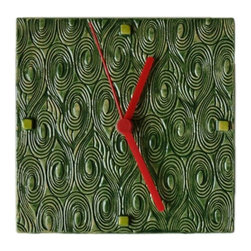 Zsofia + Istvan - Zsofia + Istvan Spiral Handmade Ceramic Wall Clock / Green Glaze - The spiral patter symbolized the infinity of time. Simple and modern. Recommended for all trendy homes.