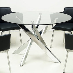 "Chintaly Imports - Dusty Round Glass Dining Table - Round tempered glass dining table. Sleek cross leg base with chrome finish.; Reound tempered glass top; Cross leg base; Chrome finish; Dimensions:47.24""W x 47.24""D x 29.53""H"