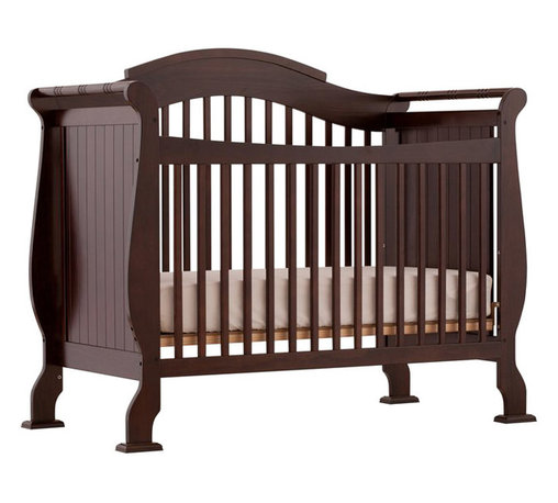 Stork Craft - Stork Craft Valentia 4-in-1 Fixed Side Convertible Crib in Espresso - Stork Craft - Cribs - 04587259 - The Valentia Fixed Side Convertible Crib surrounds your little darling in comfort and style with this beautiful sleigh designed crib.Curved edges flowing lines and a gorgeous white finish create a crib that even royalty would adore. With secure static side rails and an adjustable one piece mattress support base this piece provides crucial stability and function. This crib is not only delightful but it is a smart investment; converting from a standard crib to a toddler and daybed but ultimately into a full-size bed complete with headboard and footboard (full size bed rails not included). Set-up this royal piece with ease by following the simple easy to follow assembly instructions provided by Stork Craft. Complete your nursery look by adding a Stork Craft changing table chest dresser or glider and ottoman. Features: