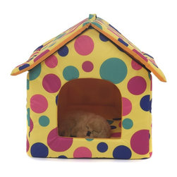 "Favorite - Favorite Oxford Fabric Pet House, Multicolored Polka Dot - This bed includes 3 pieces: a roof, a house body and a cushion. The collapsible pet house with zipper provides stylish, comfortable and secure resting place for your pets. The polyester cover is hair-resistant and easy cleaning, breathable in summer. Color: Multicolored Polka Dot. Size: 17"" L x 17.5"" W x 18.5"" H."