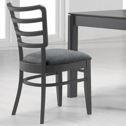Chintaly Imports - Diana Slat Back Solid Wood Side Chair - Set of 2 - Solid Rubber Wood. Slat Back. Curved Matt Black Wood Accent under seat. Comfortable Seat.