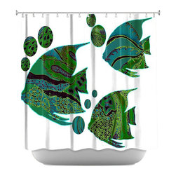 DiaNoche Designs - Sailfish Shower Curtain - Sewn reinforced holes for shower curtain rings. Shower Curtain Rings Not Included. Dye Sublimation printing adheres the ink to the material for long life and durability. Machine Washable. Made in USA.