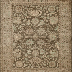 """Momeni - Patina Grey Oriental Vintage Tea Wash 8'9"""" x 11'9"""" Momeni Rug by RugLots - Patina is woven with the finest wools in a classic Oushak style. A soft, beautifully muted color palette combined with subtle distressing adds an updated, though authentic, look to the collection. Hand-knotted in India using 100% wool."""