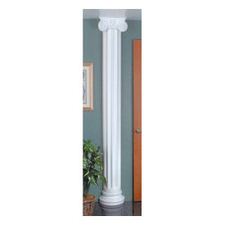 The Renovators Supply - Columns White Urethane Column 180 degrees half-round Column | 19728 - Columns 180 degrees half-round: Made of virtually indestructible high-density urethane our columns are cast from steel molds guaranteeing the highest quality on the market. High-precision steel molds provide a higher quality pattern consistency, design clarity and overall strength and durability. Lightweight they are easily installed with no special skills. Unlike plaster or wood urethane is resistant to cracking, warping or peeling.  Factory-primed our columns are ready for finishing. Measures: 79 inch high x 9 inch wide x with a 4-1/2 inch projection (180 degree). Must purchase base and capital separately.