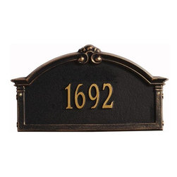 Home Decorators Collection - Roselyn One-Line Standard Wall Address Marker - Bring some flair to your front door with the Roselyn One-Line Standard Wall Address Marker. Our personalized plaques are handcrafted of rust-free cast aluminum with a baked-on finish to withstand the elements and keep your marker looking marvelous. Dress up your digits today! Available in multiple color options. Easy-to-read numbers for maximum visibility. Includes standard brass screws for hanging on wood siding.