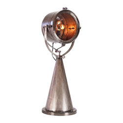 Deco Table Lamp - Large Steel - The Deco Table Lamp is a modern industrial design with art deco flavors. With 120V wall plug.