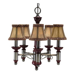 None - Burgundy/ Antique Nickel 5-light Chandelier - Vintage chandelier lighting illuminates your home while adding warmth and charm. The chandelier can accommodate five bulbs,providing vivid lighting. The fabric shades have an antique look that harmonizes with the nickel and burgundy color scheme.