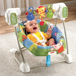 Fisher-Price - Fisher-Price Discover n Grow Swing n Seat - W9493 - Shop for Baby Swings from Hayneedle.com! Don't worry after a relaxing ride in the Fisher-Price Discover n Grow Swing n Seat you might get your chance at a nap too. This convenient swing features a smaller footprint than standard swings but offers all the same amenities. A deep padded seat swings at five different speeds while your child enjoys music an animal-themed toy bar and gentle soothing vibrations. The five-point harness clips easily in place and the padded seat cover is machine-washable and dryer safe. About Fisher-Price As the most trusted name in quality toys Fisher-Price has been helping to make childhood special for generations of kids. While they're still loved for their classics their employees' talent energy and ideas have helped them keep pace with the interests and needs of today's families. Now they add innovative learning toys toys based on popular preschool characters award-winning baby gear and numerous licensed children's products to the list of Fisher-Price favorites.