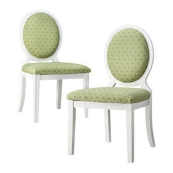 Oval-Back Dining Chair, Lemongrass Geo - When creating a Palm Beach–style space, your base color should always be green, and your furniture and any wooden trim should always be white. These oval lemongrass chairs fit the bill.