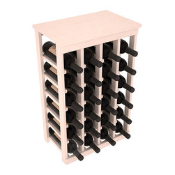 24 Bottle Kitchen Wine Rack in Pine with White Wash Stain - Petite but strong, this small wine rack is the best choice for converting tiny areas into big wine storage. The solid wood top excels as a table for wine accessories, small plants, or whatever benefits the location. Store 2 cases of wine in a space smaller than most televisions!