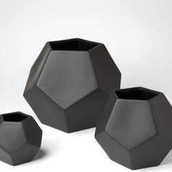 Faceted Vases, Black - Graphic vases make a bold statement while still being neutral in black.