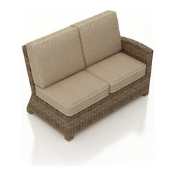 Forever Patio - Cypress Outdoor Wicker Right Arm Sectional, Spectrum Mushroom Cushions - The Forever Patio Cypress Wicker Outdoor Sectional Right Arm Facing Loveseat with Beige Sunbrella cushions (SKU FP-CYP-RALS-HR-SM) seats up to 2 people, featuring a contoured armrest to serve as an end to your Cypress sectional. The heather-colored resin wicker is UV-protected, and features subtly muddled tones for a varied, natural look. Each strand of this outdoor wicker is made from High-Density Polyethylene (HDPE) and is infused with its rich color and UV-inhibitors that prevent cracking, chipping and fading ordinarily aused by sunlight. This patio outdoor loveseat sectional piece is supported by thick-gauged, powder-coated aluminum frames that make it more durable than natural rattan. This sectional piece includes fade- and mildew-resistant Sunbrella cushions for added comfort in your outdoor space.