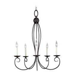 Sea Gull Lighting - Sea Gull Lighting SB 31074 Wrought Iron 5 Light Up Lighting Chandelier from the - *Subtle flecks of color bring this hand painted peppercorn finish to life or Sweeping curves in brushed nickel finish - a soft, contemporary touch