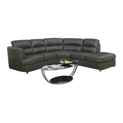 Monarch Specialties - Monarch Specialties 8445GY Sectional in Dark Gray - Simple and sleek. This fabulous contemporary sectional is a nice addition to any modern living room. Wrapped in a luxurious grey bonded leather match with full foam seating, this sectional was crafted for comfort. Attached seat and back cushions, a sinuous spring base and a webbed back. Keep the fashion going with the bent polished chrome feet for support. finish this contemporary ensemble with a Glass top occasional set.
